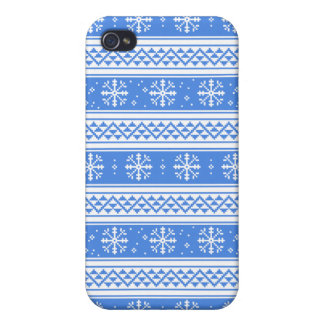 Blue And White Winter Snowflake Pattern Covers For iPhone 4