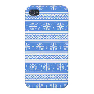 Blue And White Winter Snowflake Pattern iPhone 4 Cases