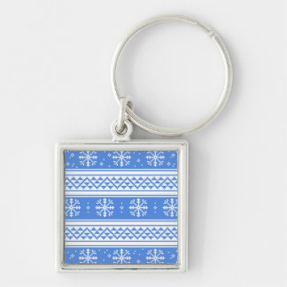 Blue And White Winter Snowflake Pattern Keychain