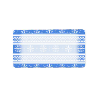 Blue And White Winter Snowflake Pattern Label