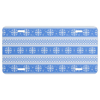 Blue And White Winter Snowflake Pattern License Plate