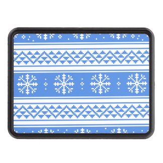 Blue And White Winter Snowflake Pattern Hitch Cover