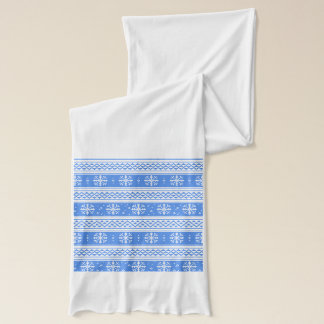 Blue And White Winter Snowflake Pattern Scarf