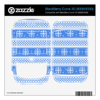 Blue And White Winter Snowflake Pattern BlackBerry Curve Decal