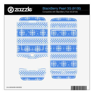 Blue And White Winter Snowflake Pattern BlackBerry Skins