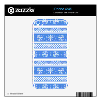 Blue And White Winter Snowflake Pattern Skins For iPhone 4