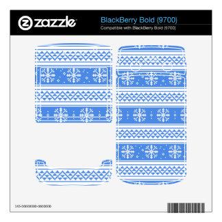 Blue And White Winter Snowflake Pattern BlackBerry Bold 9700 Skin