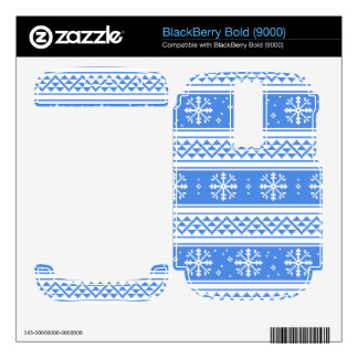 Blue And White Winter Snowflake Pattern BlackBerry Bold Decals
