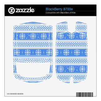 Blue And White Winter Snowflake Pattern Skin For BlackBerry