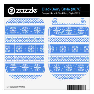 Blue And White Winter Snowflake Pattern Skin For BlackBerry Style