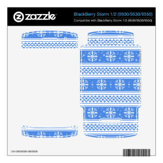 Blue And White Winter Snowflake Pattern Skin For BlackBerry Storm