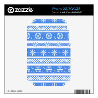 Blue And White Winter Snowflake Pattern Skin For The iPhone 3GS