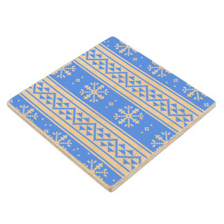 Blue And White Winter Snowflake Pattern Wooden Coaster