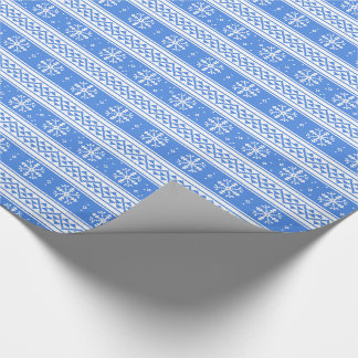 Blue And White Winter Snowflake Pattern Gift Wrap Paper