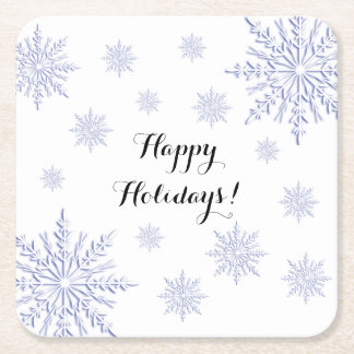 Blue and White Winter Snowflakes Happy Holidays Square Paper Coaster
