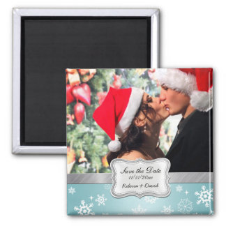Blue and White Winter Snowflakes Save the Date 2 Inch Square Magnet