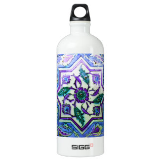 Blue and White with hints of Purple Iznik tile Aluminum Water Bottle