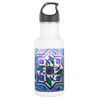 Blue and White with hints of Purple Iznik tile Water Bottle