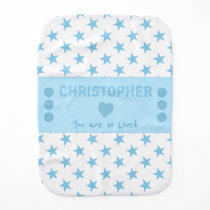 Blue and white with stars and name baby burp cloth