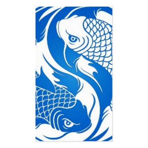 Blue and white yin yang koi fish business card zazzle for Blue and white koi fish