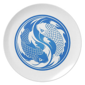 Blue and White Yin Yang Koi Fish Dinner Plate