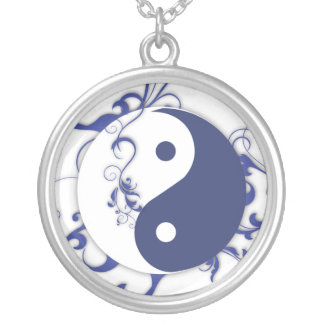 Blue and white Yin & Yang Silver Plated Necklace