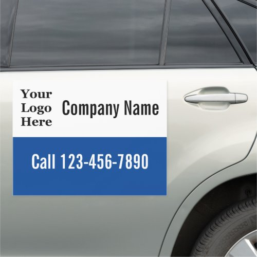 Blue and White Your Logo Here Car Magnet
