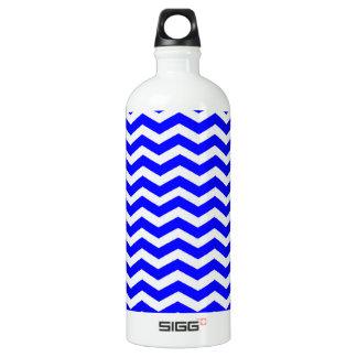Blue And-White-Zigzag-Chevron-Pattern Aluminum Water Bottle