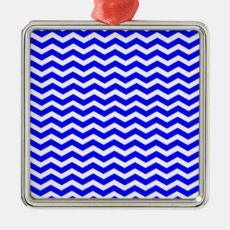 Blue And-White-Zigzag-Chevron-Pattern Metal Ornament