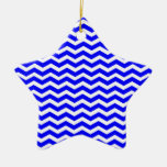 Blue And-White-Zigzag-Chevron-Pattern Christmas Ornament