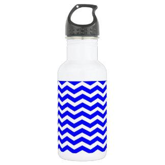 Blue And-White-Zigzag-Chevron-Pattern Water Bottle