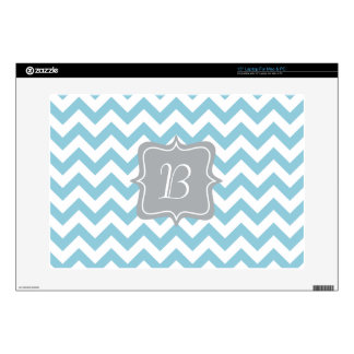 "Blue and White Zigzag Monogram 15"" Laptop Decal"
