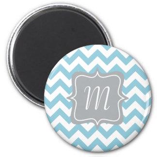 Blue and White Zigzag Monogram 2 Inch Round Magnet