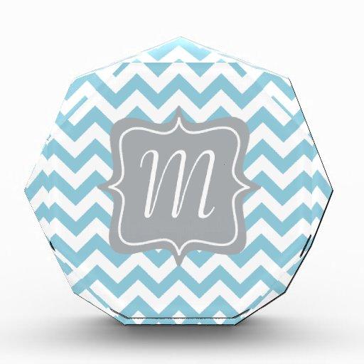 Blue and White Zigzag Monogram Acrylic Award
