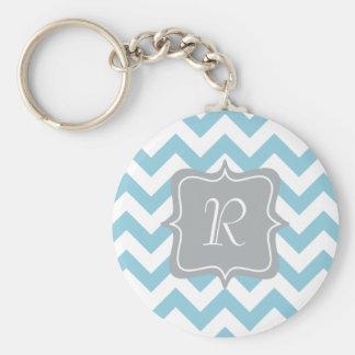 Blue and White Zigzag Monogram Basic Round Button Keychain