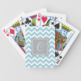 Blue and White Zigzag Monogram Bicycle Playing Cards