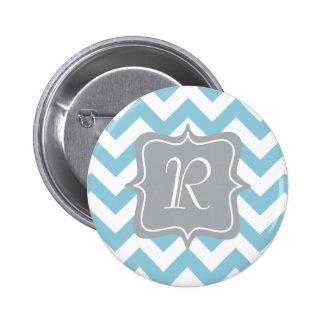 Blue and White Zigzag Monogram 2 Inch Round Button