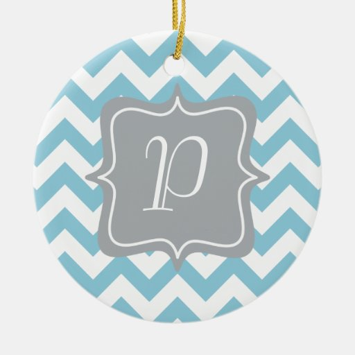 Blue and White Zigzag Monogram Christmas Ornaments