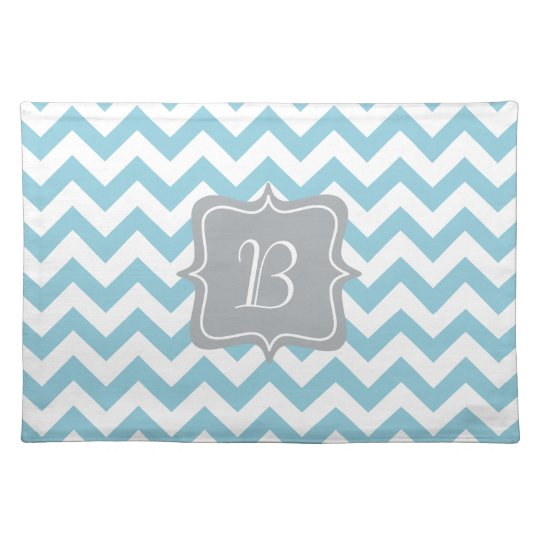 Blue and White Zigzag Monogram Cloth Placemat