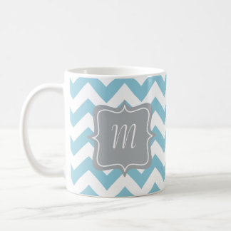 Blue and White Zigzag Monogram Coffee Mug