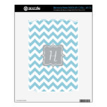 Blue and White Zigzag Monogram Decals For The NOOK