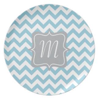Blue and White Zigzag Monogram Dinner Plate