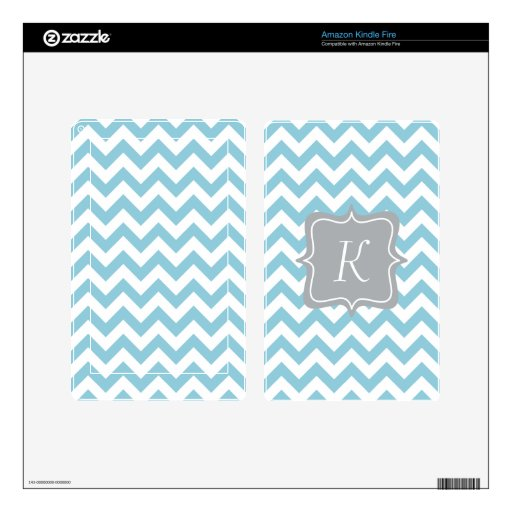 Blue and White Zigzag Monogram Kindle Fire Skin