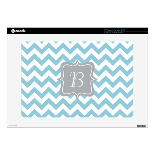 Blue and White Zigzag Monogram Laptop Skin
