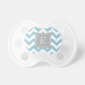 Blue and White Zigzag Monogram Baby Pacifier