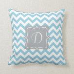 Blue and White Zigzag Monogram Pillow