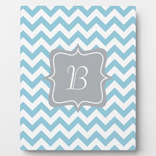 Blue and White Zigzag Monogram Plaques