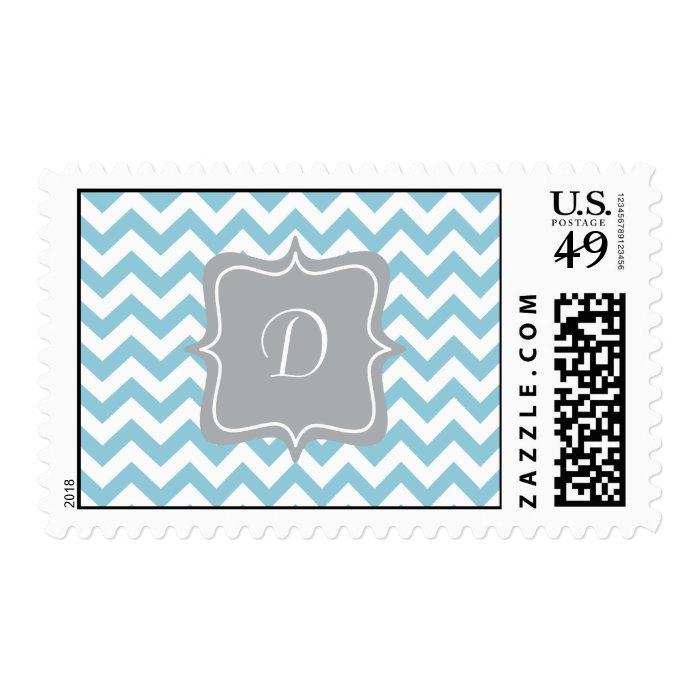 Blue and White Zigzag Monogram Postage