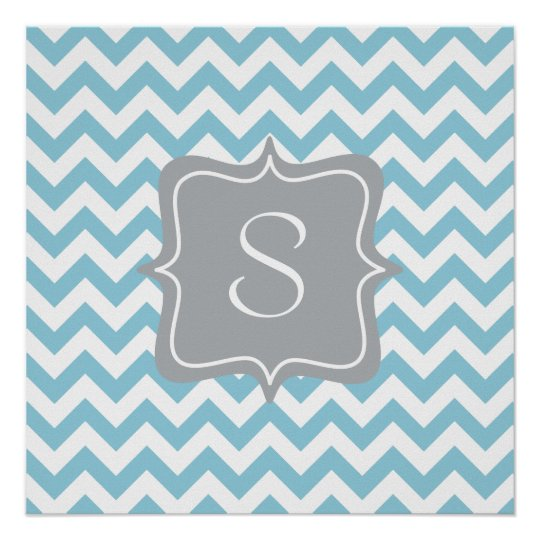 Blue and White Zigzag Monogram Poster