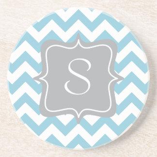 Blue and White Zigzag Monogram Sandstone Coaster